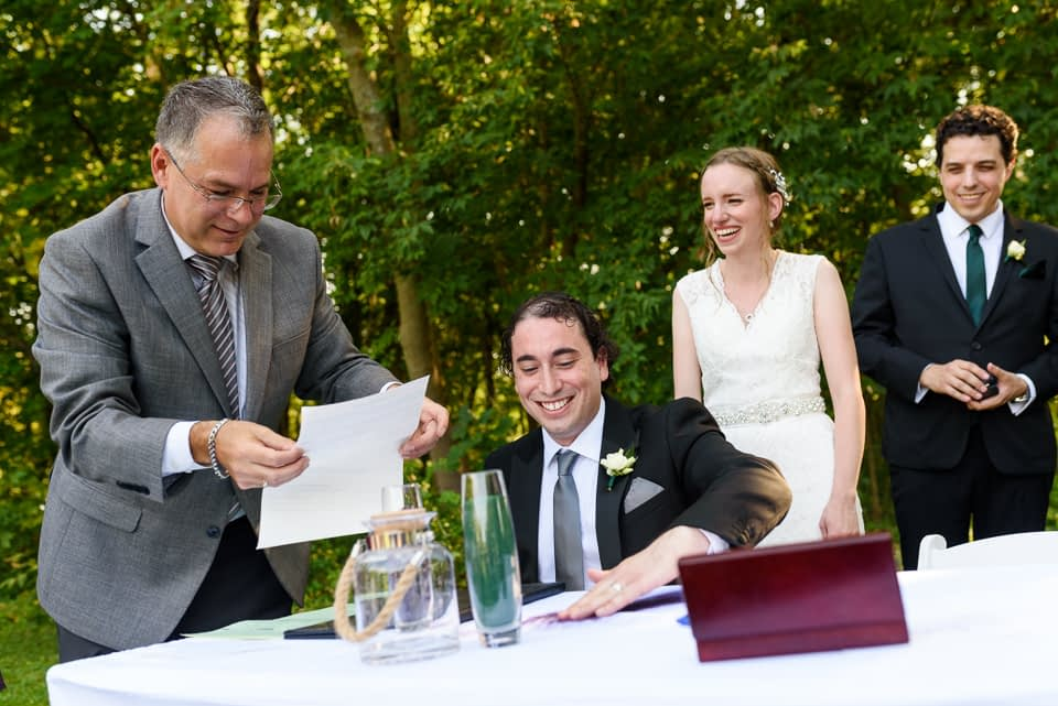 Laughter at wedding ceremony at Fritz Farm
