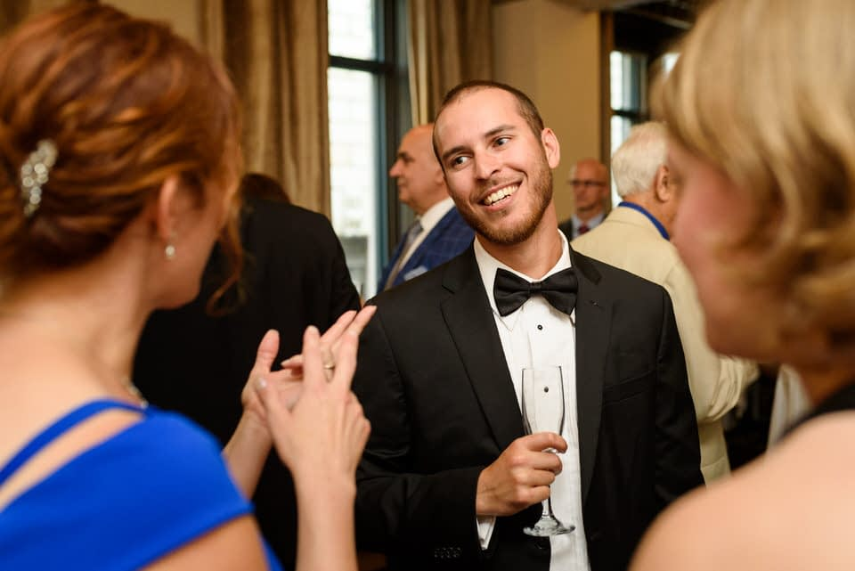 Guest smiling at reception