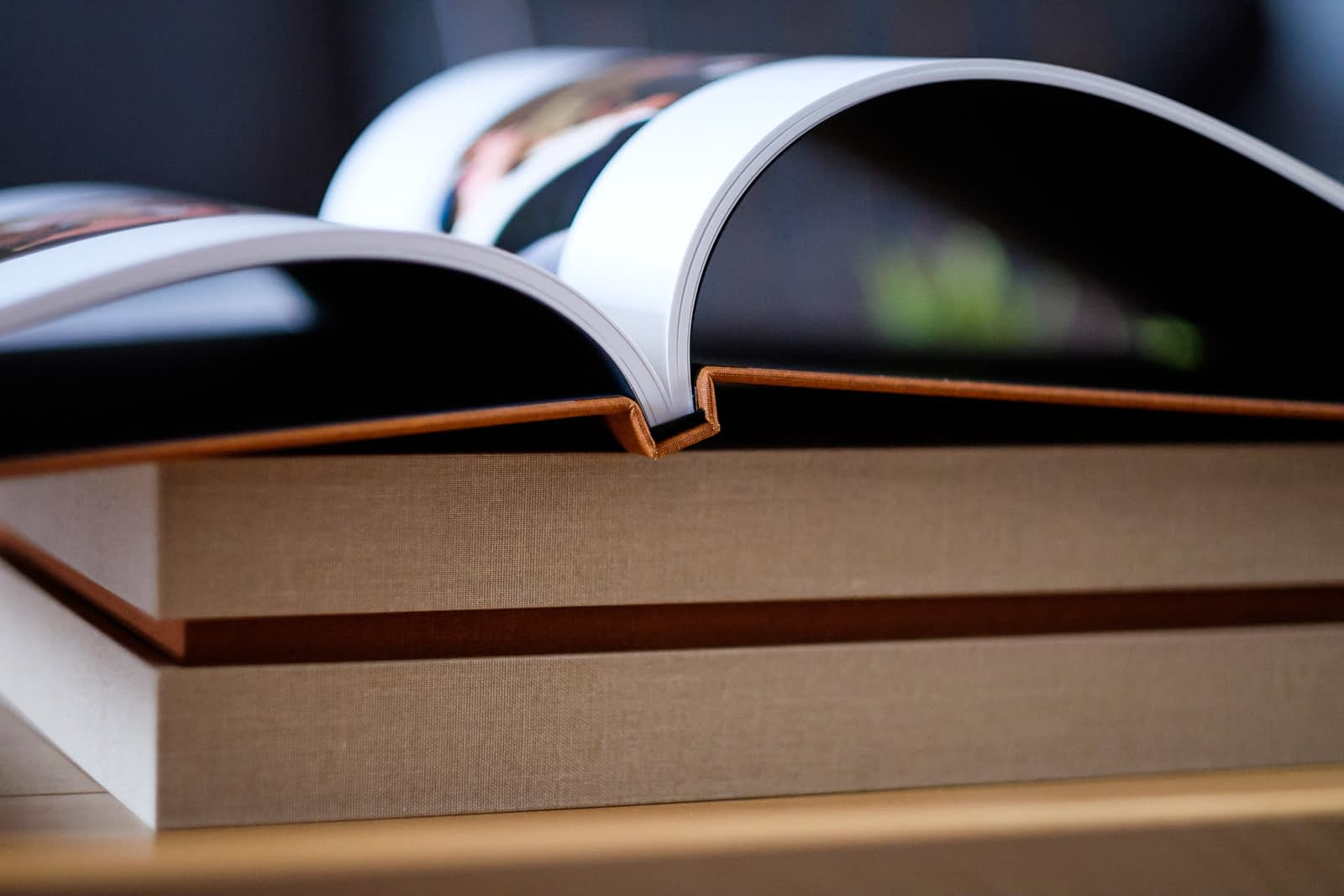 Close up detail of spine of wedding album with book pages open