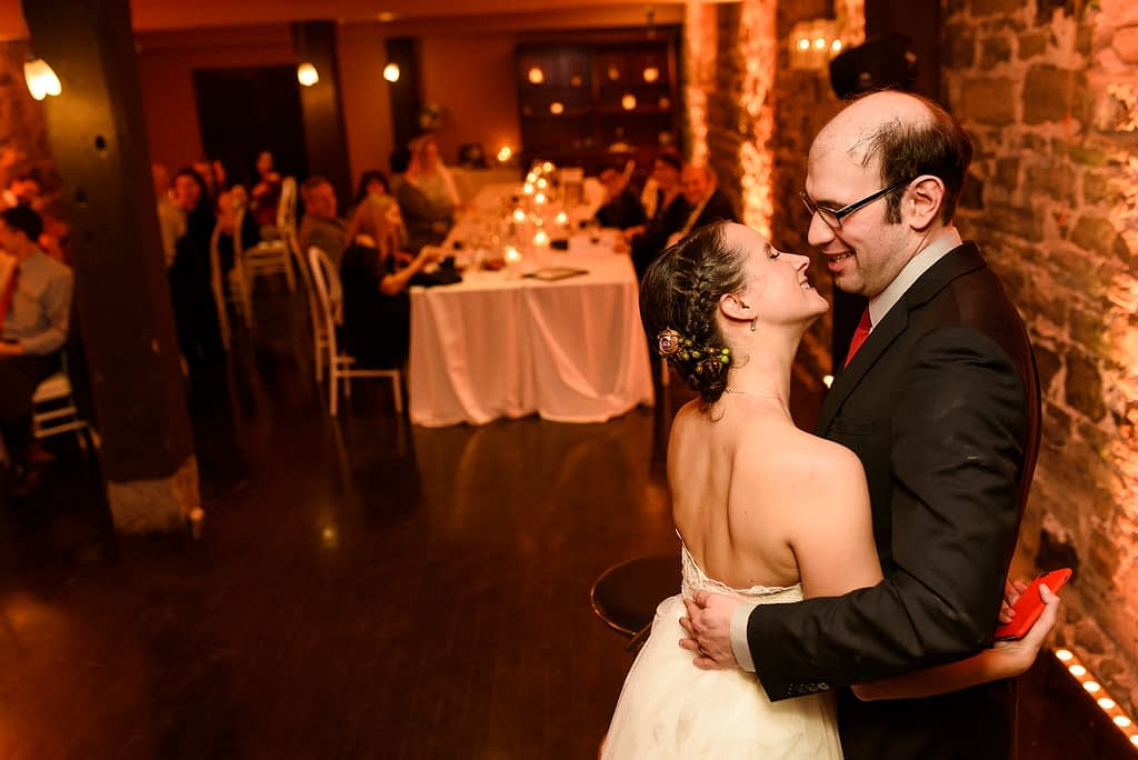 New Year's Eve kiss at midnight for wedding couple